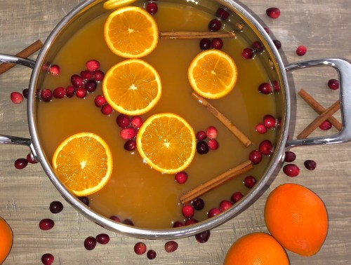 pot of mulled cider with sliced oranges, cranberries, and cinnamon sticks