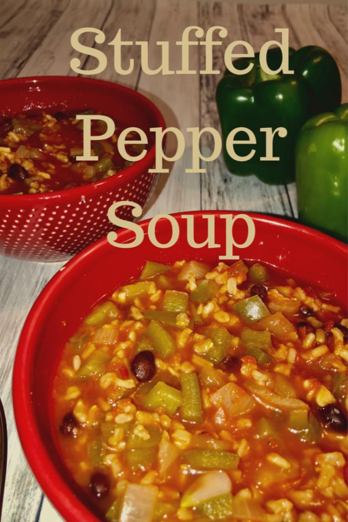 Red Bowl full of Stuffed Pepper Soup
