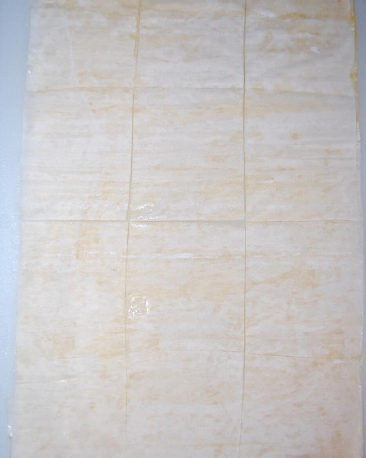 Phyllo dough cut into 12 rectangles