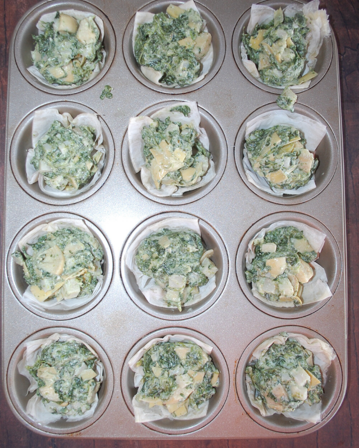 Spinach/artichoke mixture on top of phyllo cups