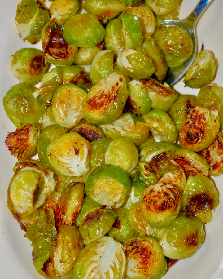 plate of browned Brussels sprouts