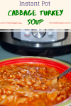 Bowl of soup in a colorful bowl in front of an Instant Pot