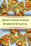 individual slices of spinach, tomato & cheese frittata