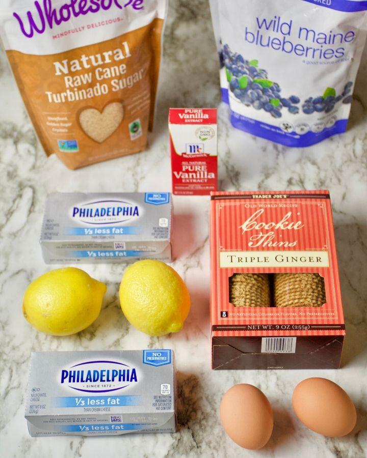 raw cane sugar, blueberries, cream cheese, lemon, eggs, vanilla extract, triple ginger cookie thins