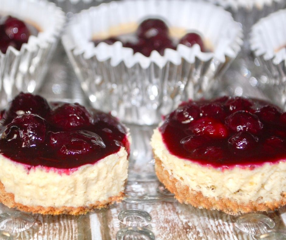 Mini Lemon Cheesecakes with Blueberry Topping