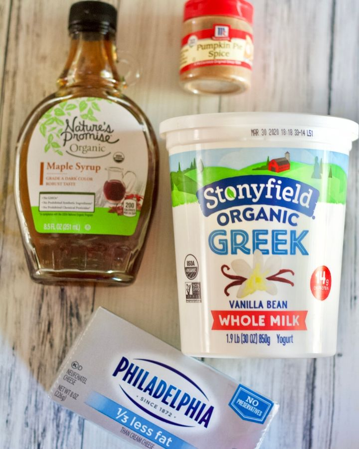 Stoneyfield organic Greek Vanilla Bean Yogurt, Philadelphia Cream Cheese, Maple Syrup, and Pumpkin Pie Spice