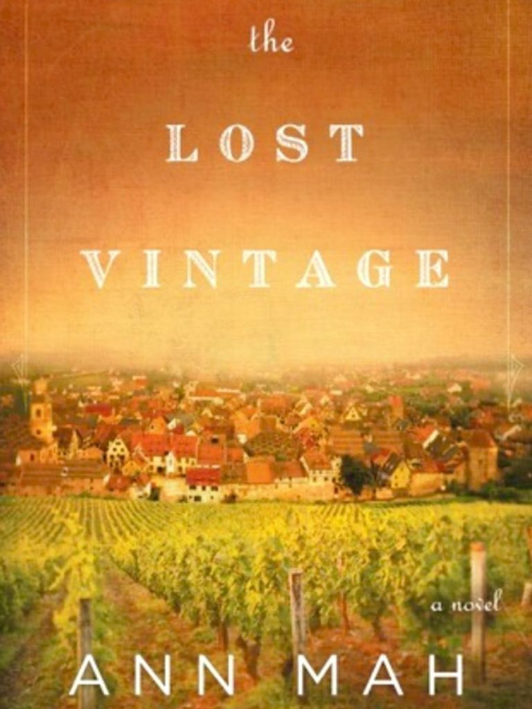 the cover of the Lost Vintage book by Ann Mah, picture of a grape farm with town in the background
