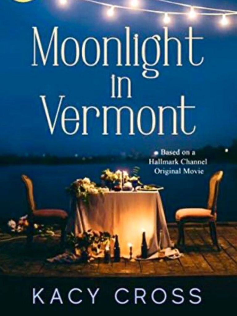 cover of the book Moonlight in Vermont - fancy table set for two in front of the lake at dusk with steams of lights hanging