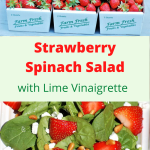 3 cartons of fresh strawberries with a strawberry spinach salad displayed below