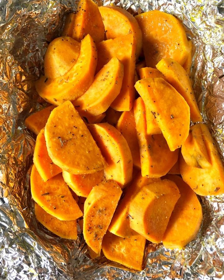 grilled sweet potato slices in foil
