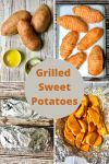 4 pictures of grilled sweet potatoes