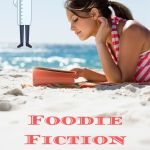 girl reading a book on the beach with a chef in the upper corner
