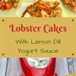 lobster cakes on a green dish with a ceramic lobster filled with lemon dill yogurt sauce
