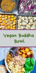 sheetrpans of chickpeas, red onion, cubed squash, and cut cauliflower on top; finished colorful buddha bowl on the bottom