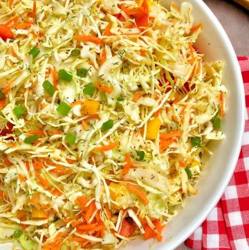 bowl of healthy coleslaw garnished with green onion slices; red and white plaid napkin to side with a wooden spoon