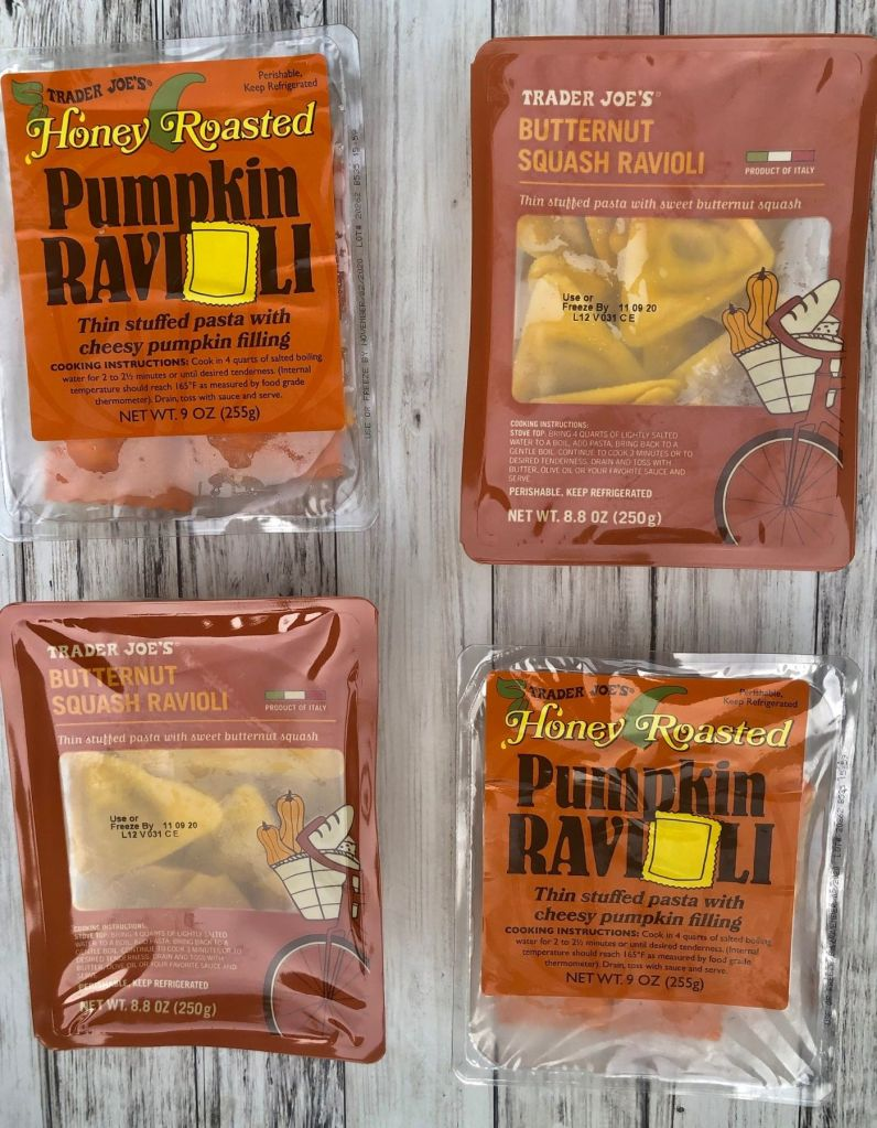 pumpkin and butternut squash ravioli in packages
