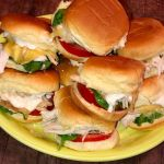 yellow plate full of turkey sliders