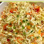dish of healthy coleslaw with no mayonaisse