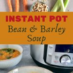 Ingredients on top (carrots, celery, onion, garlic, tomato paste, beans, spinach, farro - Bean & Barley Soup on Bottom