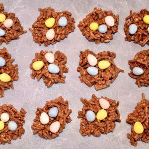 Bird's Nest Cookies on a gray backdrop
