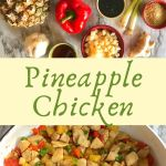 Whole pineapple, chicken breasts, red bell pepper, green onion, garlic on top, pineapple chicken skillet on bottom