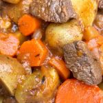 close up photo of venison stew with chunks of meat, potato, onion, and carrot